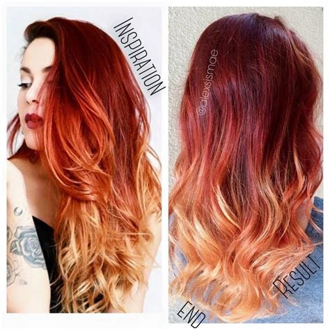 hombre hair coloring techniccs luanna90 inspired red fire balayage ombre hair using