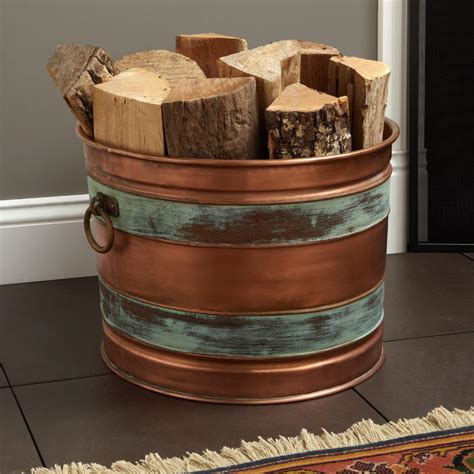 decorative fireplace log holder manheim decorative copper firewood holder on antique copper home accents