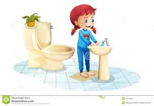 Illustration of a girl wearing a blue sleepwear washing her hands on a