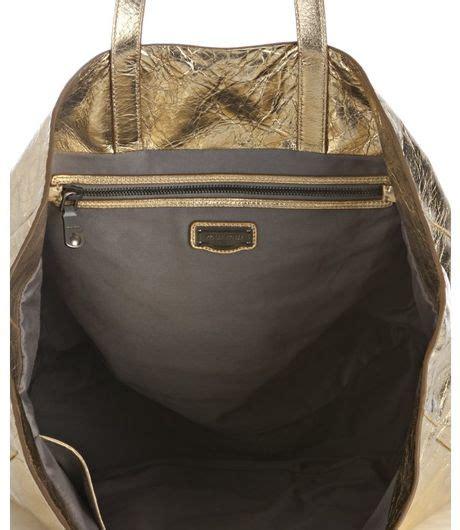 Miu Miu Vitello Large Tote by Miu Miu Metallic Gold Leather Vitello Tote Bag In Gold Lyst