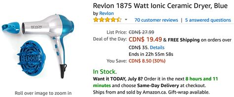 Hair Dryer Deals Canada canada deals of the day save 30 on revlon 1875 watt ionic ceramic dryer other select