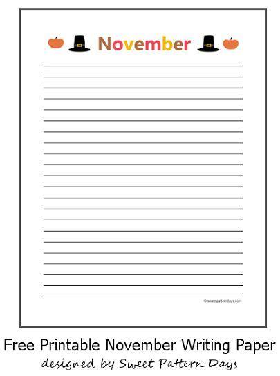 Printable November Stationery | cute november lined writing paper stationery printables