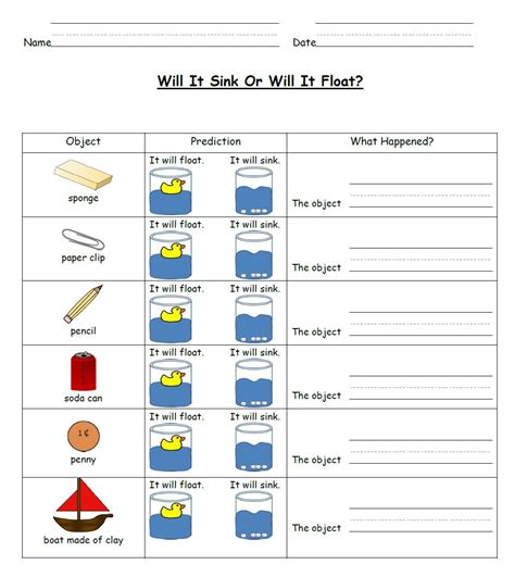 worksheets for students sink and float science activities best misc education