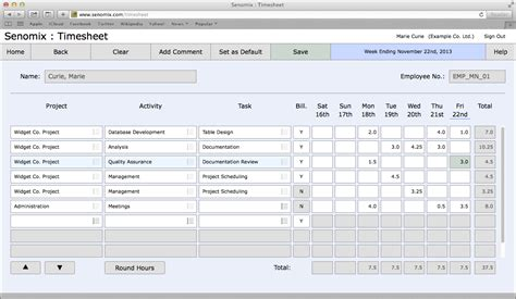 senomix timesheets time and expense tracking features