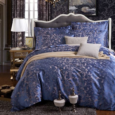 blue satin comforter 2016 jacquard lake blue satin 4pcs bedding sets including