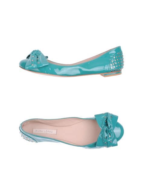 turquoise flat shoes pura ballet flats in blue turquoise lyst