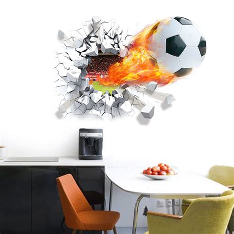 football stickers for walls football soccer broken wall stickers tv background