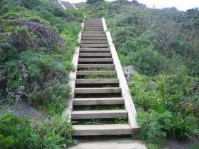 Landscape Stair by Wooden Outdoor Stairs And Landscaping Steps On Slope