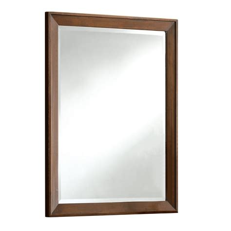 bathroom vanity mirrors lowes allen roth 30 in x 24 in arkendale cherry rectangular
