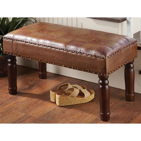 living room bench seat wood and leatherette bench seat 204134 living room at