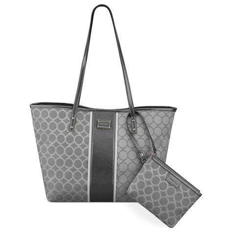 9 Nine West Handbags by Lyst Nine West 9 Jacquard Medium Tote In Gray
