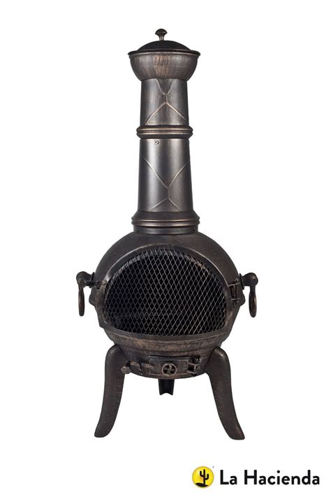 chiminea grill 105cm bronze cast iron steel mix chiminea with swing out