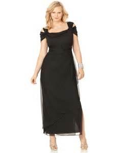 alex evenings plus size cold shoulder empire waist gown in