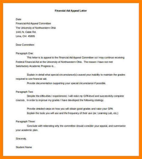 appeal letter slefinancial aid appeal letter template word docjpg financial aid suspension