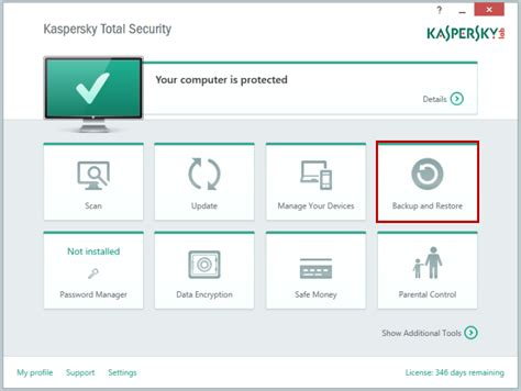 reset kaspersky manually backup and restore component of kaspersky total security