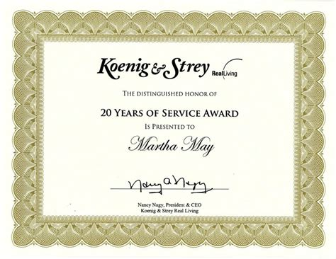 20 Year Service Award Quotes Quotesgram Years Of Service Certificate Template Free