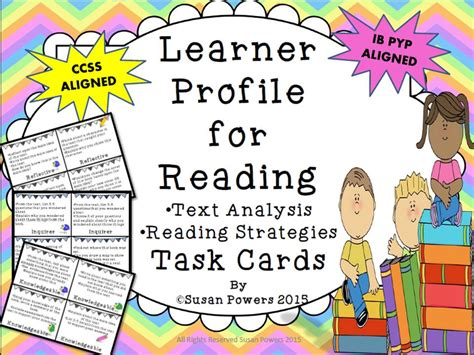 learner profile cards templates ib pyp learner profile for literacy task cards by
