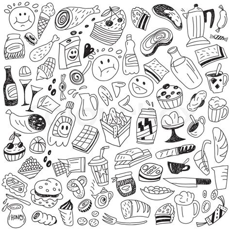 doodle food vector fast food doodles stock vector colourbox