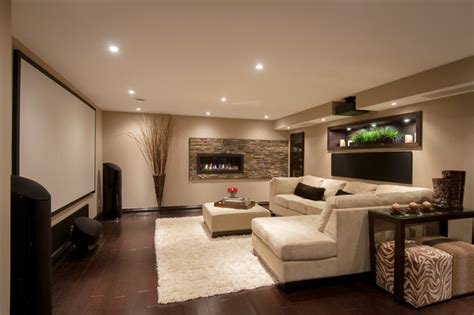 Modern Basements | modern media room basement contemporary basement