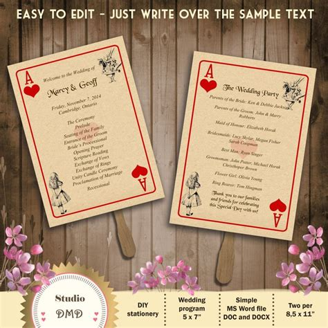 i cards for wedding template printable wedding program template in