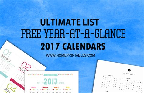 Year At A Glance Calendar Best Free 2017 Year At A Glance Calendars Home Printables
