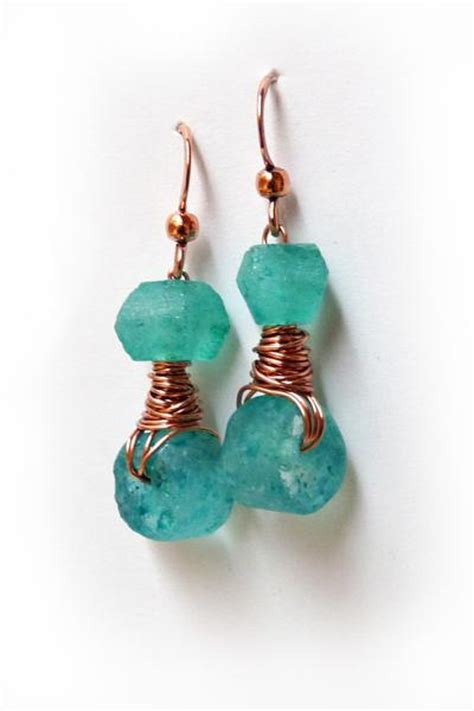 100 recycled jewelry gift boxes in pretty bright colors bright teal recycled glass copper wire wrapped earrings