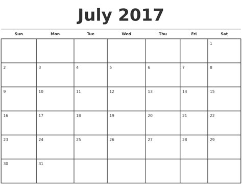 Printable Monthly Calendar July Calendars