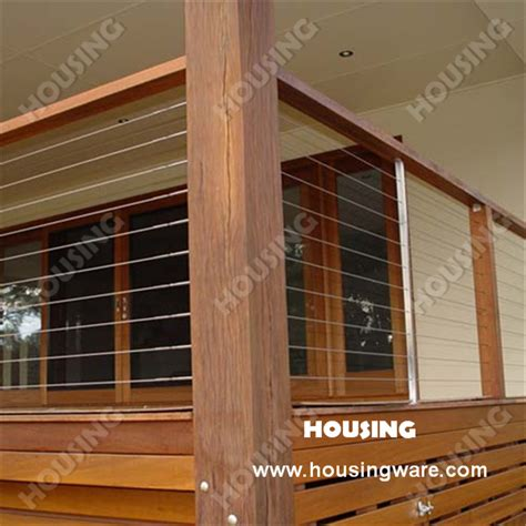 holzkonstruktion balkon wood handrail wire railing in strong structure in