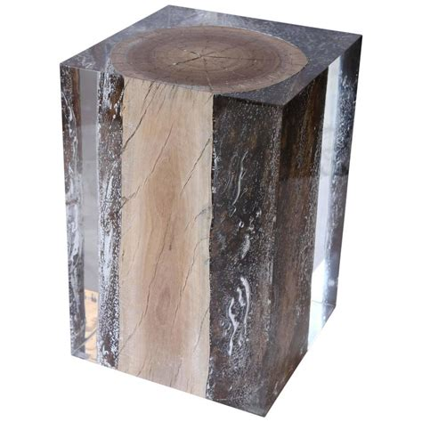 Driftwood Side Table Acrylic Glass And Driftwood Nilleq Side Table And Stool At 1stdibs