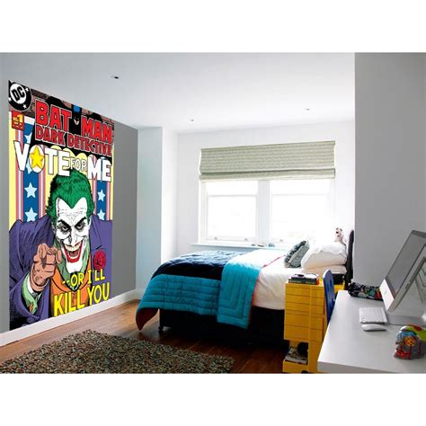 easy wall murals 1 wall easy hang wallpaper mural joker batman comic 1 58m x 2 32m