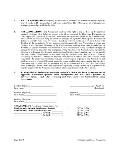 blank condominium lease agreement free download