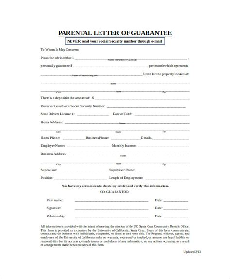Personal Guarantor Letter Sle Parent Rent Guarantee Letter Guarantee Letter Bank