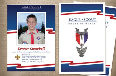 eagle scout invitations and program red white and blue