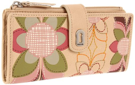 Dompet Fossil Sydney Tab Clutch Wallet Pink Stripe Leather Nwt fossil ruby tab clutch in pink floral lyst