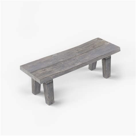 old wooden bench old wooden bench 3d model