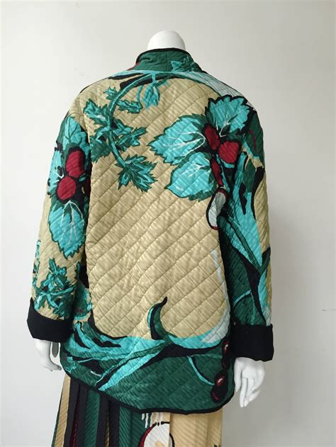 Japanese Quilted Jacket by Michaele Vollbracht 80s Silk Japanese Garden Quilted