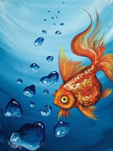 acrylic painting tutorial pdf goldfish and realistic underwater bubbles step by step