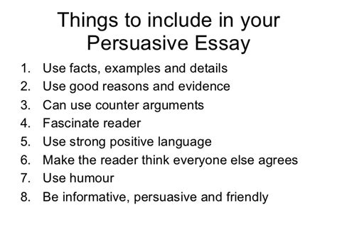 Things To Write A Persuasive Essay On by Persuasive Writing 2011 1