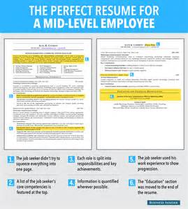 Resume Tips Mid Career Ideal Resume For Mid Level Employee Business Insider