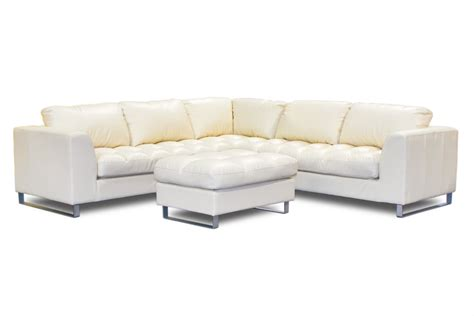 L Shaped Ivory Leather Tufted Saddle Sofa With Ottoman And Leather L Shaped Sofa