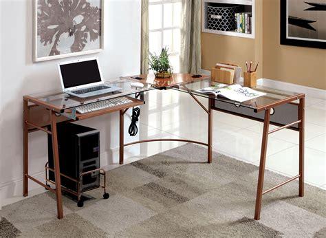 roses office furniture furniture of america sarea l shaped glass top gold