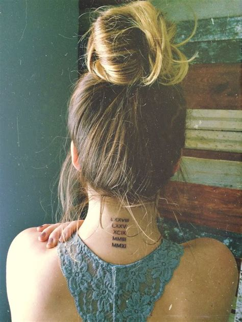 number tattoo on neck roman numerals neck tattoos and the necks on pinterest