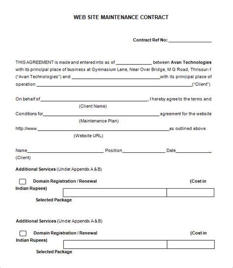 maintenance contract template free website maintenance agreement template 12 maintenance
