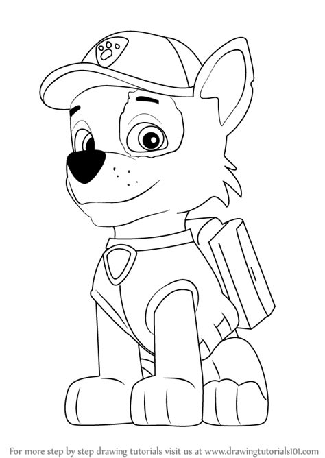 paw drawing learn how to draw rocky from paw patrol paw patrol step by step drawing tutorials