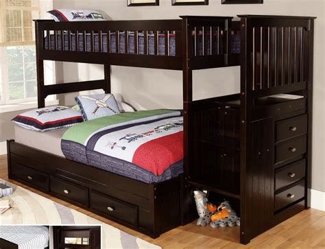 Bedding For Bunk Beds Discovery World Furniture Espresso Staircase Bunk Beds Kfs Stores