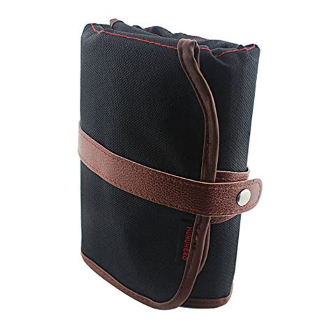 Canvas Roll Up Pencil With Leather Belt Tempat Pensil Gulung pencil huhuhero 72 color pencil holder organizer colored pencils roll up pouch canvas