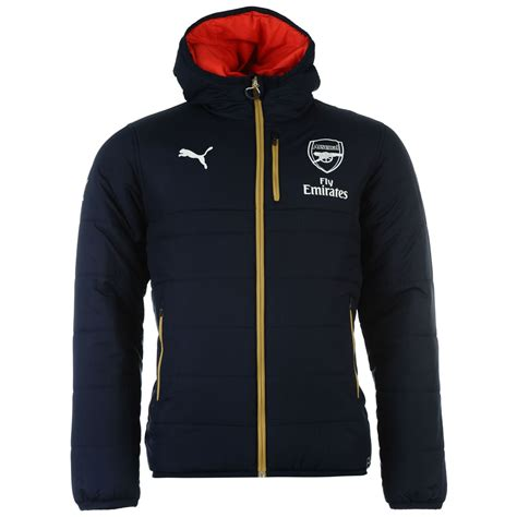 arsenal jacket puma mens arsenal rev jacket full zip hooded padded