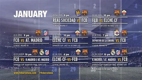 Calendrier Ligue Des Chions Fc Barcelone Calendrier Du Fc Barcelone Janvier 2015 Football Tennis