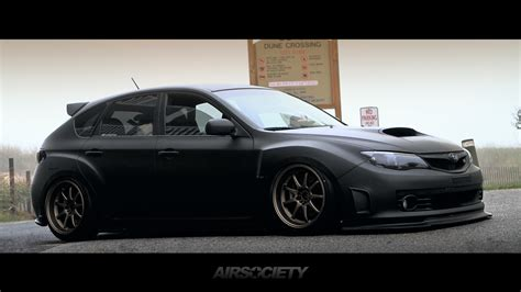 black subaru hatchback airsociety subaru wrx sti matte black work emotion bagged
