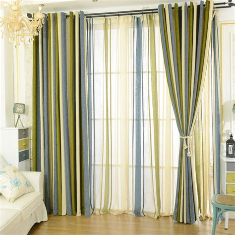 blue green striped curtains modern chenille blackout blue olive green striped curtains